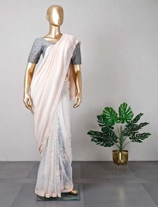 Latest designer white net saree for wedding functions