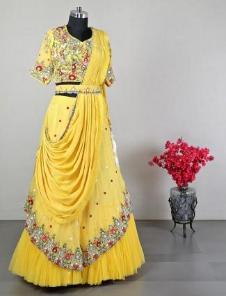 Latest designer yellow cotton silk wedding wear lehenga choli