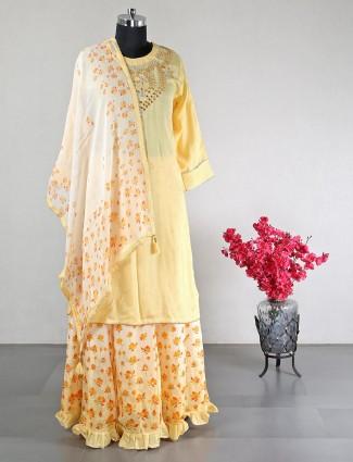 Latest designer yellow party wear cotton suit