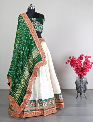 Latest green and white semi stitched lehenga choli for wedding