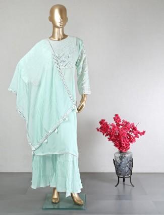 Latest green cotton salwar kameez