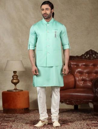 Latest green cotton silk mens waistcoat set