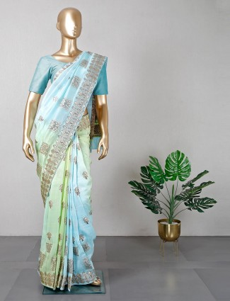 Latest green cotton silk wedding saree