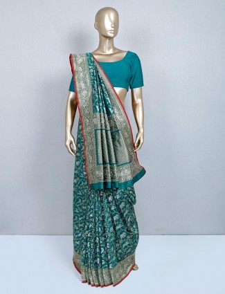 Latest green designer banarasi silk saree