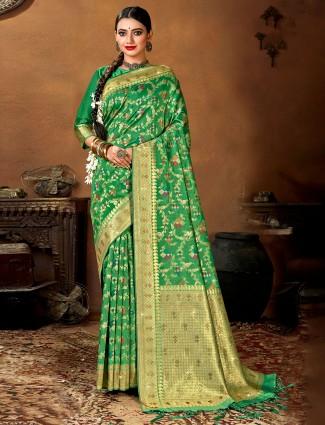 Latest green designer wedding wear saree in patola silk