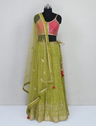Latest olive designer wedding wear tissue silk lehenga choli