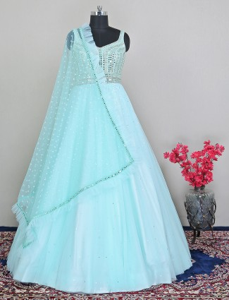 Latest green floor length style suit in net