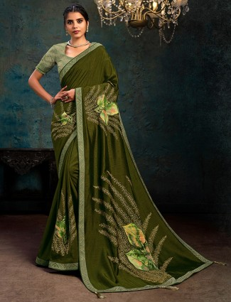 Latest green marble chiffon festive saree