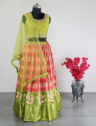 Latest green raw silk for wedding functions