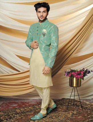 Latest green raw silk mens waistcoat set