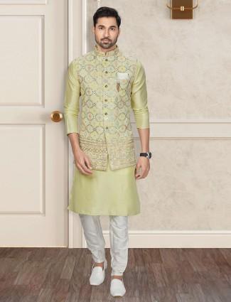 Latest green silk waistcoat set for mens