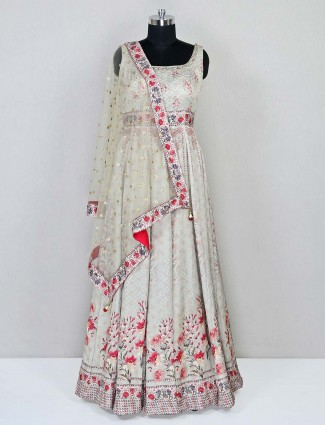 Latest grey anarkali in cotton for wedding functions