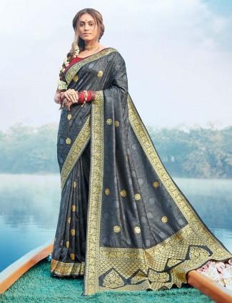 Latest grey banarasi silk wedding wear saree for women