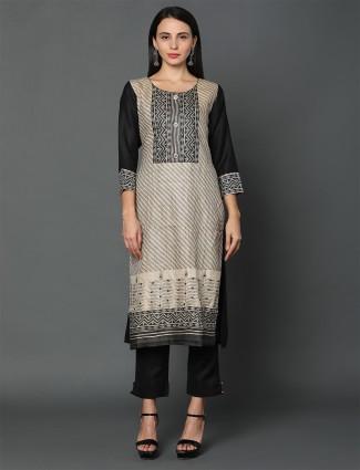 Latest grey-black tassar silk punjabi suit for festival