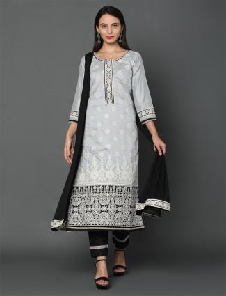 Latest grey chandei silk punjabi style salwar kameez