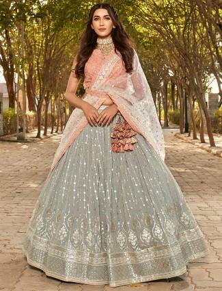 Latest grey color wedding wear lehenga choli