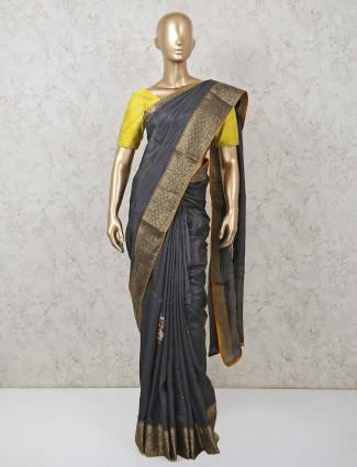 Latest grey colour saree in dola silk for wedding event