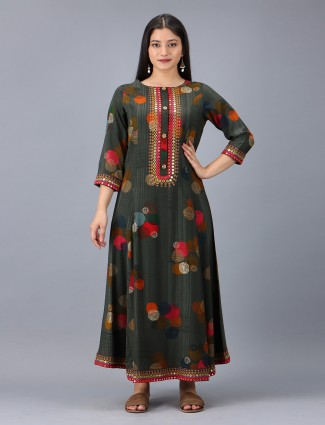 Latest grey cotton casual occasions printed kurti