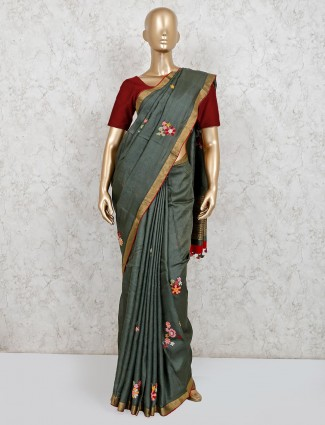 Latest grey linen saree with readymade blouse