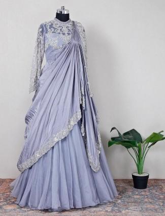 Latest grey net wedding wear lehenga choli for women