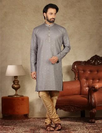 Latest grey printed cotton mens kurta suit