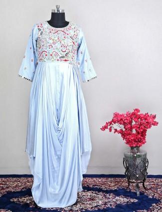 Latest grey raw silk designer salwar kameez for wedding