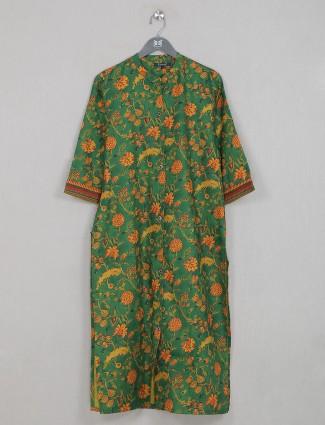 Latest leaf green cotton casual wear kurti