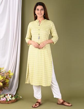 Latest lemon yellow printed cotton casual wear kurti