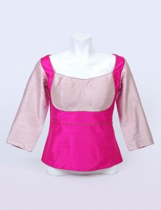 Latest magenta colour raw silk blouse