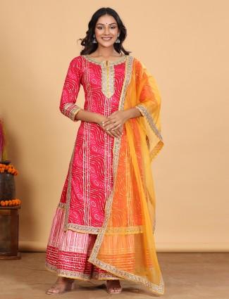 Latest magenta cotton festive occasions punjabi style sharara suit