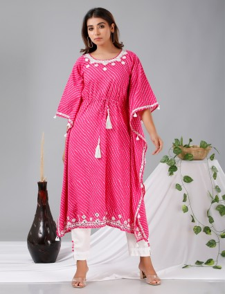 Latest magenta cotton festive punjabi kaftan style stripe pant suit