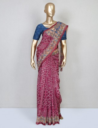 Latest magenta pink cotton saree for festive functions