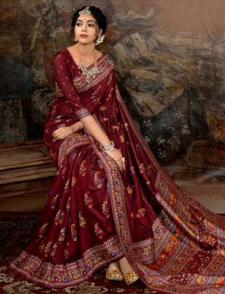 Latest maroon banarasi silk saree for wedding