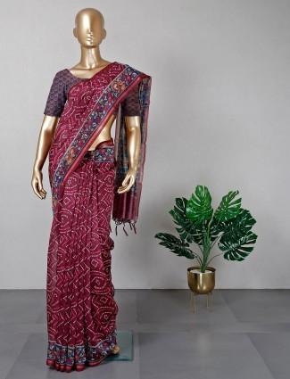 Latest maroon colour cotton saree for festive