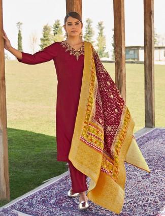 Latest maroon festive ceremony punjabi style pant suit