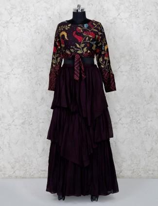 Latest maroon georgette designer layered lehenga choli
