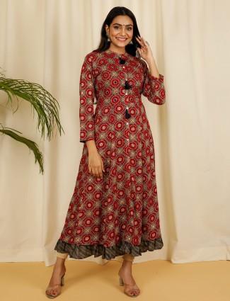 Latest maroon printed cotton casual wear kurti