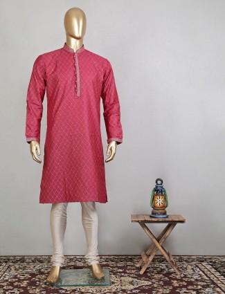 Latest maroon raw silk festive wear kurta