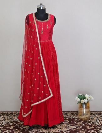 Latest maroon rawsilk anarkali suit for women