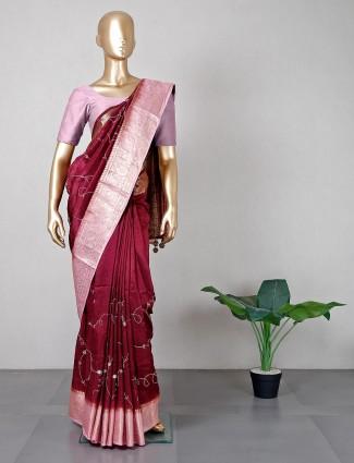 Latest maroon silk saree for weddings