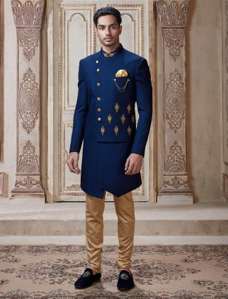 Latest mens indo western in royal blue