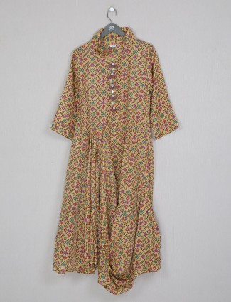 Latest mustard yellow cotton printed kurti for casual ocacsions