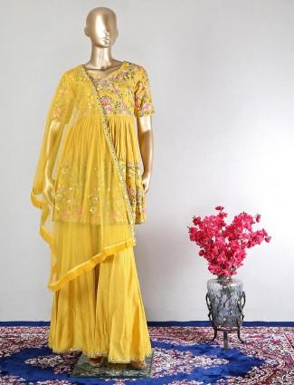 Latest mustard yellow designer salwar kameez in raw silk