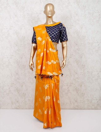 Latest mustard yellow dola silk saree readymade blouse