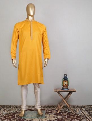 Latest mustard yellow raw silk kurta suit