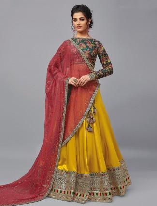 Latest mustard yellow satin silk wedding lehenga choli