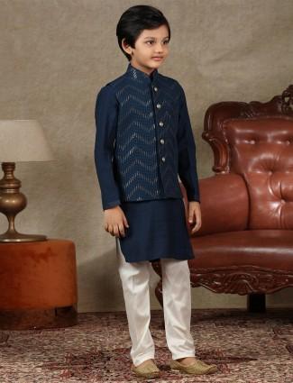 Latest navy cotton silk boys waistcoat set