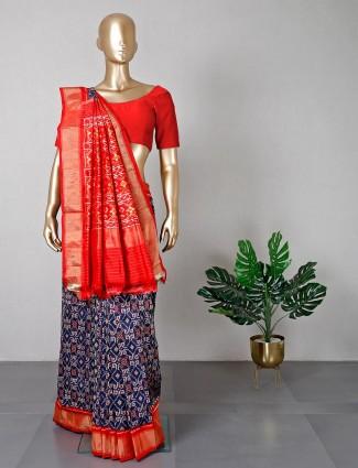 Latest navy patola silk wedding wear saree
