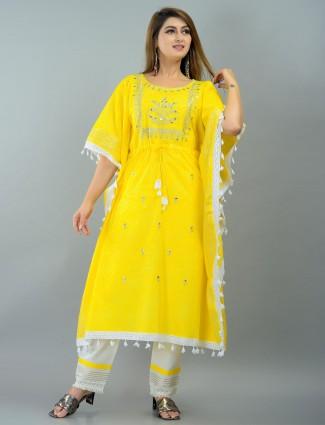 Latest neon yellow printed festive ceremony punjabi style pant suit