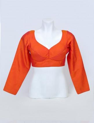 Latest orange raw silk designer ready made blouse